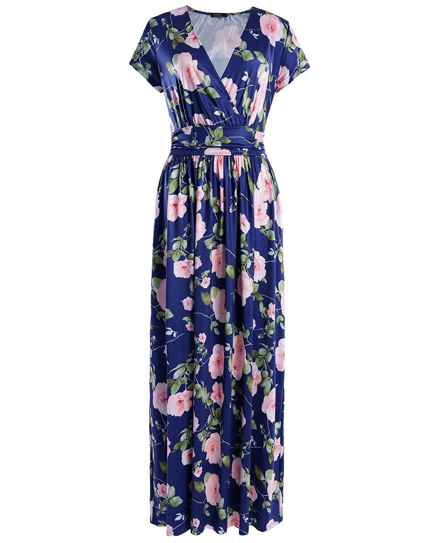 Ouges womenus vneck pattern pocket maxi long dress at amazon
