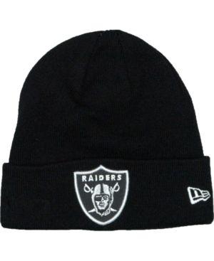 e9a06bf3a68 New Era Oakland Raiders Basic Cuff Knit Hat - Black Adjustable ...