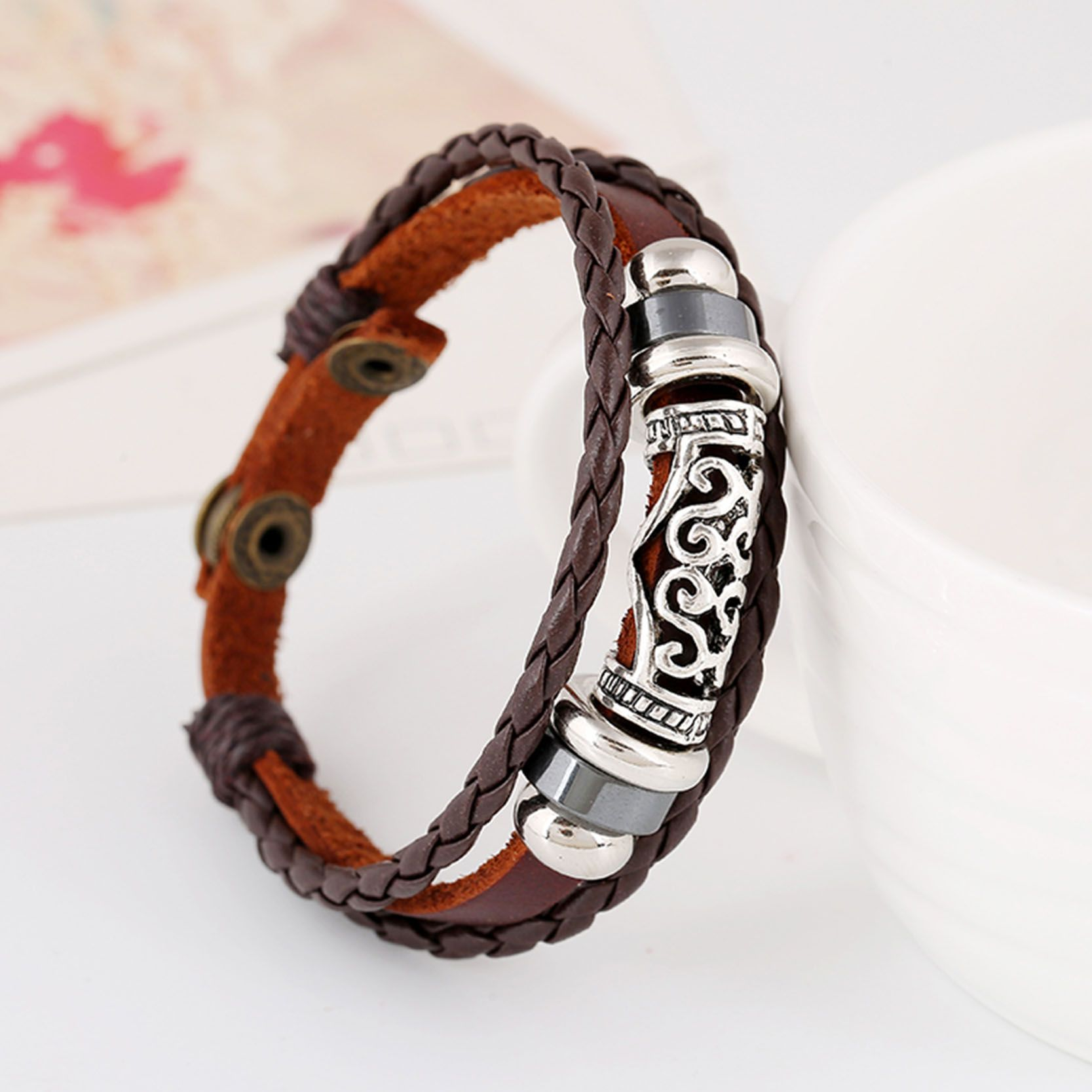 Luxury genuine leather jewelry with unique shaped rosary bead