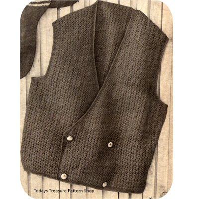 Mens Crocheted Double Breasted Vest Pattern Mens Pinterest