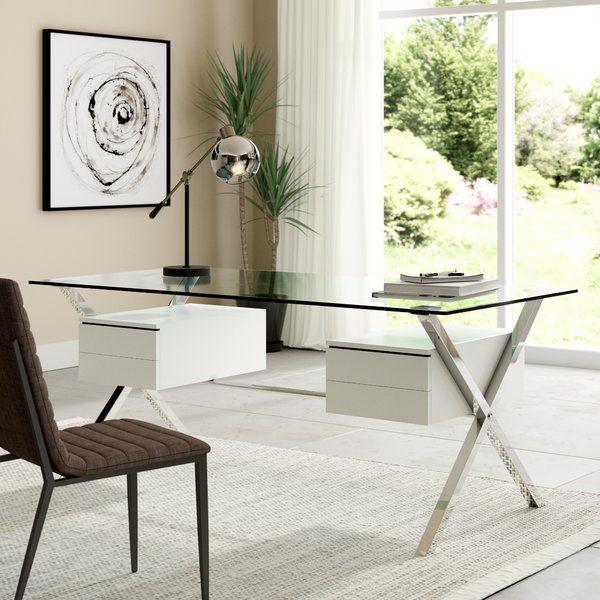 Balhi Suspended Glass Writing Desk | Glass desk, Modern ...