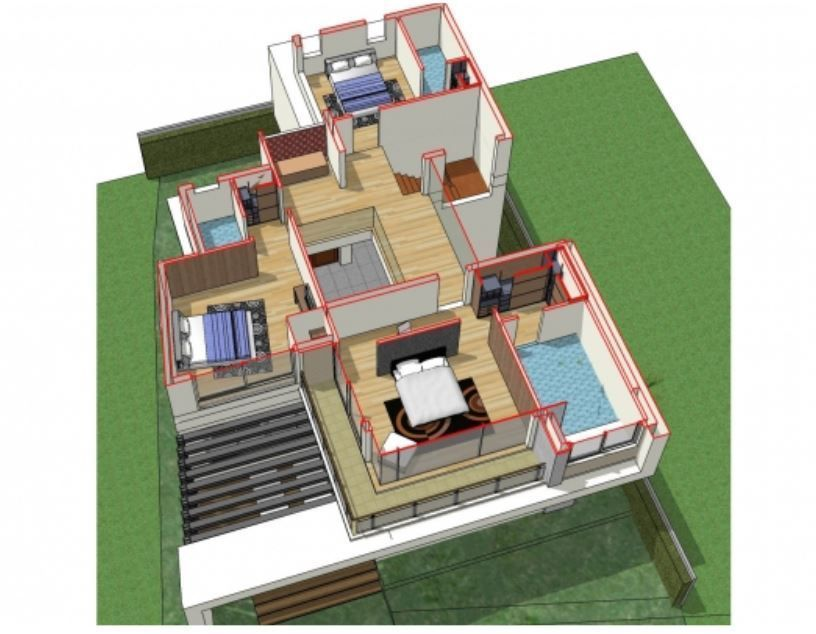 Home Design Plan 13x17m With 3 Bedrooms