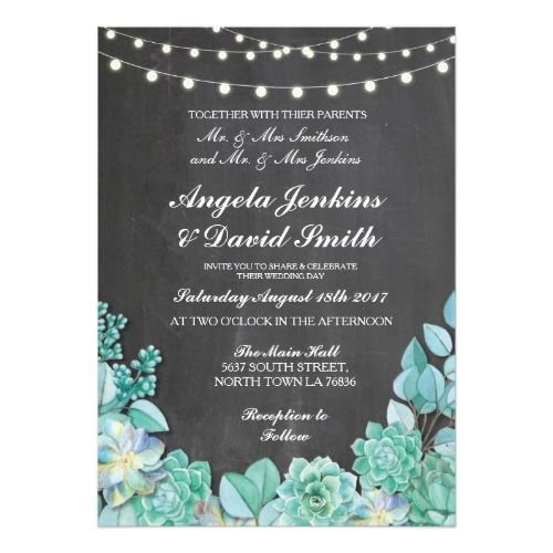Succulent Wedding Invitations Succulents Rustic Chalk Lights Teal Invite