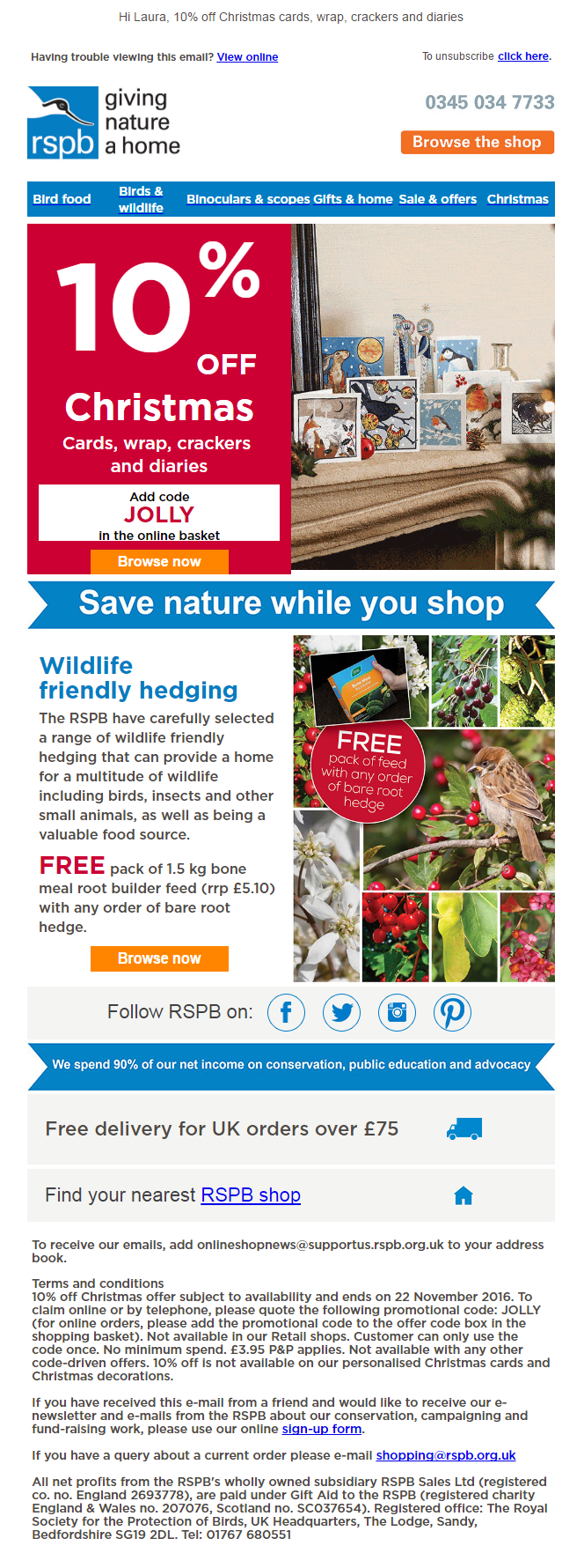 10 off christmas offer and discount code from rspb 10 off christmas offer and discount code from rspb emailmarketing email marketing
