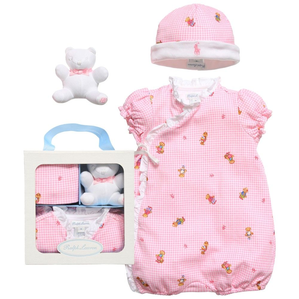 d35048a35c6e9 Ralph Lauren Baby Girls Shortie Hat   Teddy Box Gift Set at  Childrensalon.com