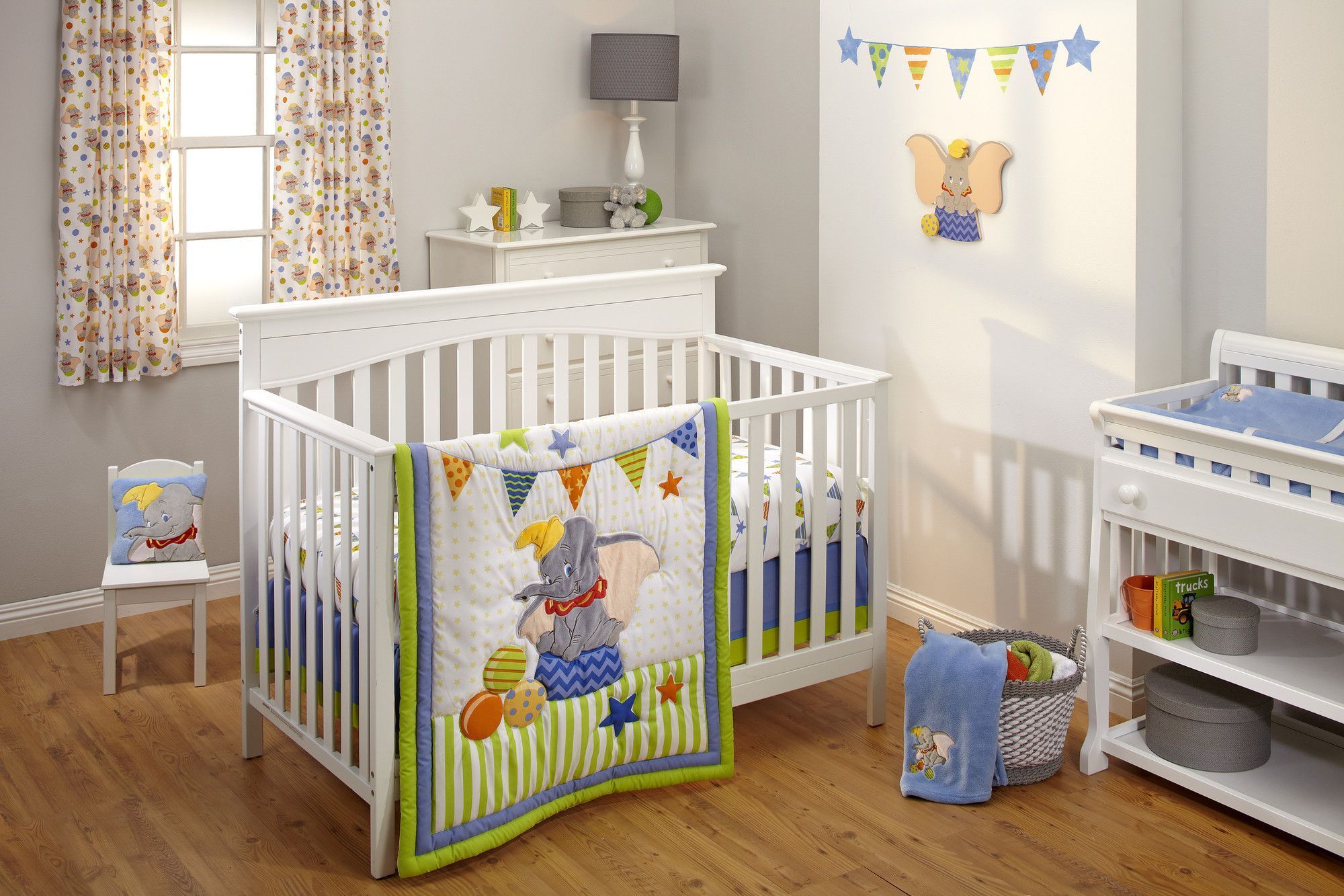 Features Dumbo Collection Number Of Pieces 3 Pieces Included An Appliqued Comforter Fitted Crib Sheet And Dust Ruffle Crib Bedding Sets Crib Bedding Baby Bedding Sets