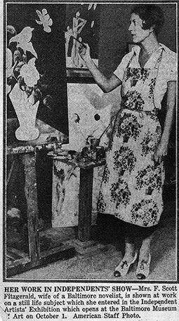 zelda fitzgerald newspaper clipping of zelda painting