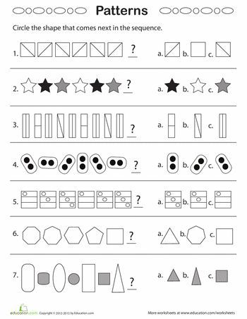 geometric patterns what comes next number sense pattern worksheet 1st grade worksheets. Black Bedroom Furniture Sets. Home Design Ideas