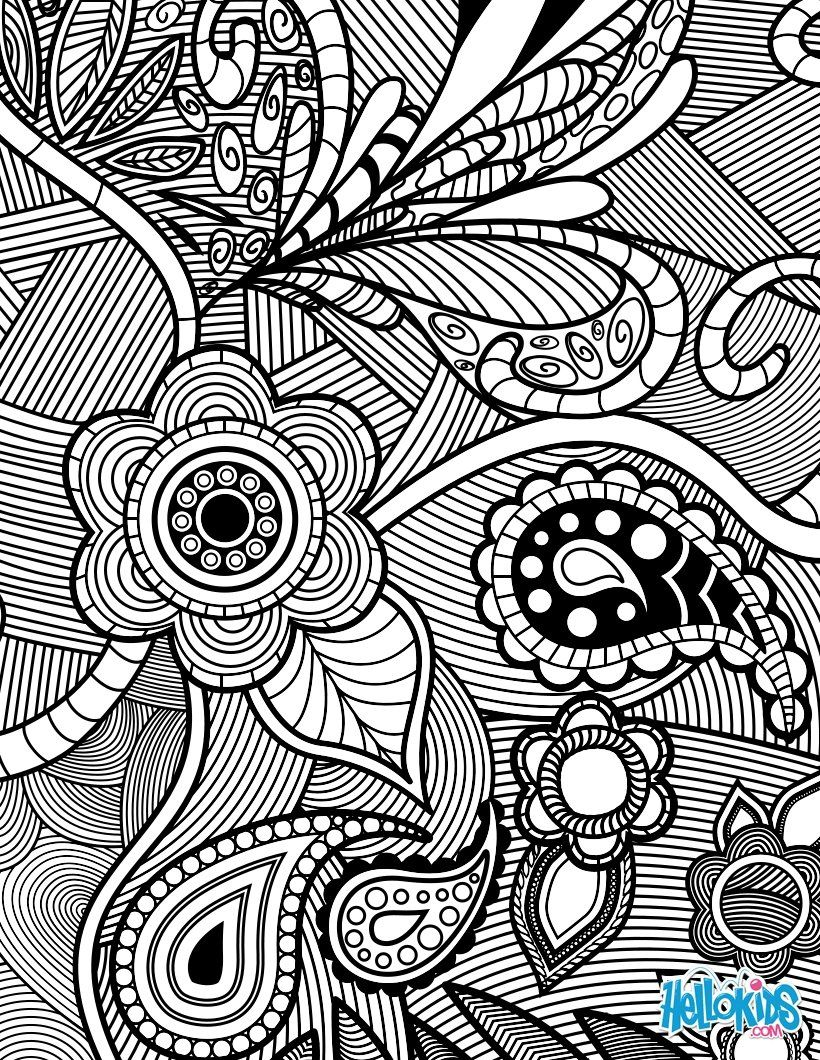 Flowers & Paisley Design coloring page Allows you to be able to ...