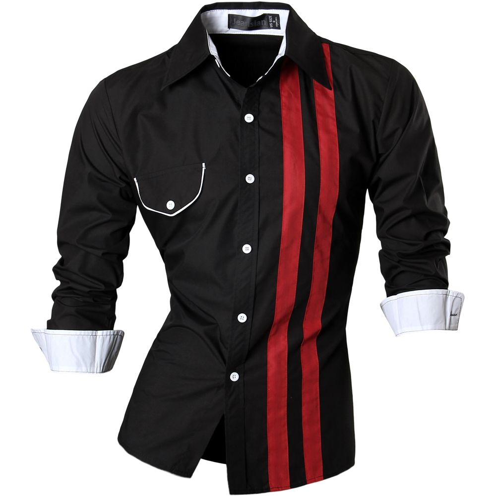 ed5e298ebd8d Stripe Design Mens Simple Style Dress Casual Shirt Slim Club Bar Man ...