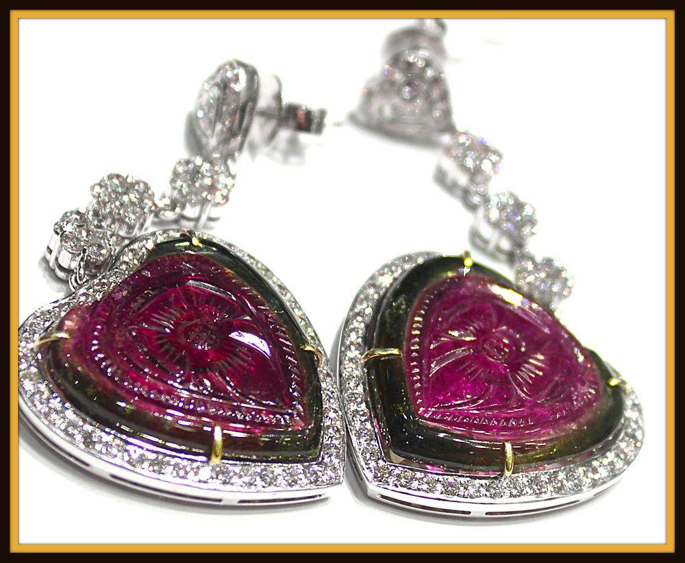 Diamond Natural Ruby White Gold Fine Earrings Ebay