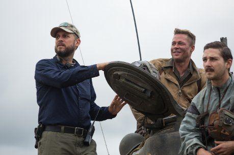 Brad Pitt, David Ayer and Shia LaBeouf in Fury (2014)