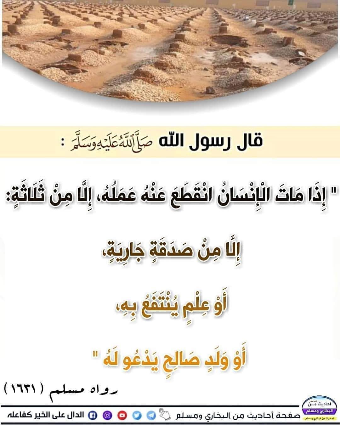 حديث النبي إذا مات الإنسان انقطع عمله إلا من ثلاث Words Body