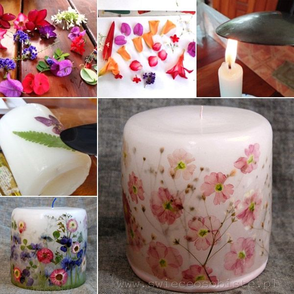 Decoupage A Candle With Dried Flowers