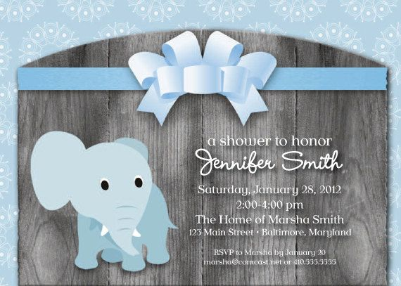 Elephant Theme Baby Shower Invitation By SimplySocialDesigns, $18.00