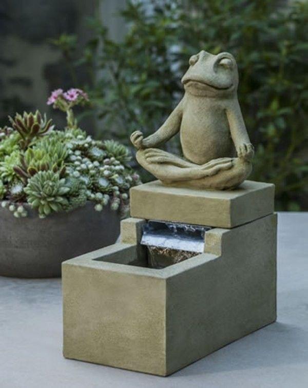 Campania International Inc Garden Terrace Mini Element Cast Stone Zen Frog Fountain Finish Pietra Va