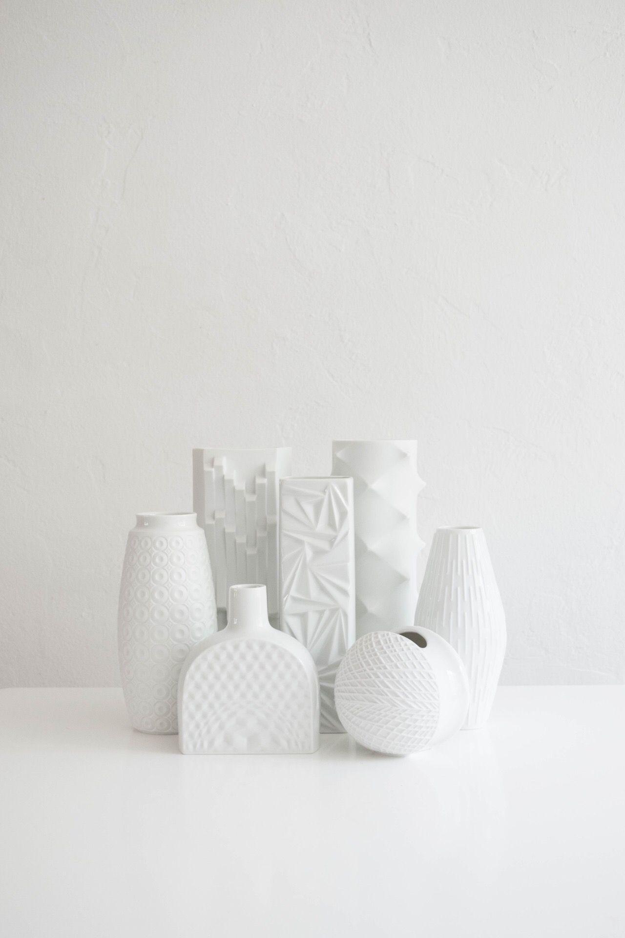 Mid Century Modern White Porcelain Vase Collection