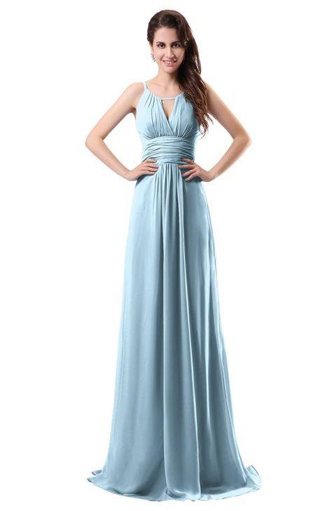 Ice Blue Simple Column Scoop Chiffon Ruching Bridesmaid Dresses ...