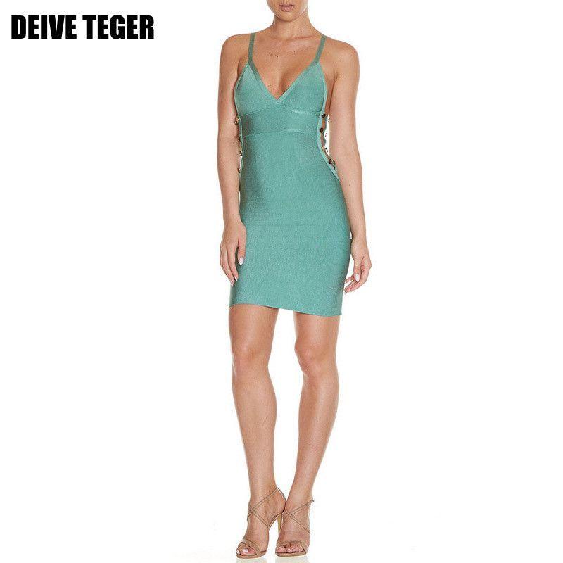 DEIVE TEGER Quality Spaghetti Strap Hollow Out Button Bodycon Bandage Vestidos Women Mini Dress
