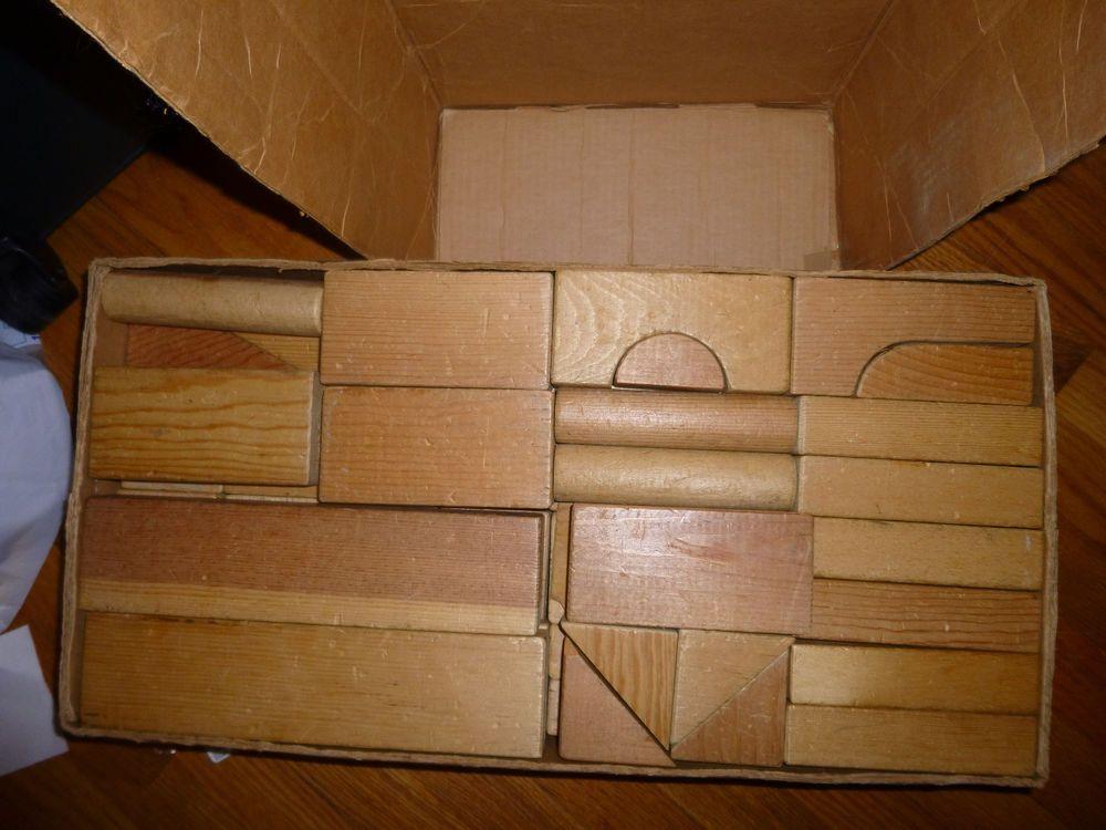Vintage Playskool Large Wooden Blocks In Box Kindergarten Blocks