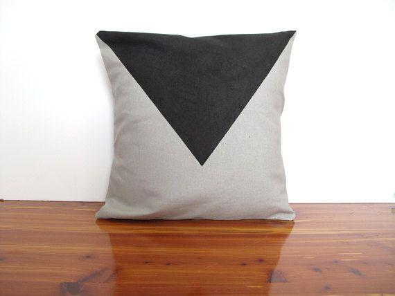 "Screen printed, decorative pillow cover, canvas, 14""x14"", black, gray. $25.00, via Etsy."