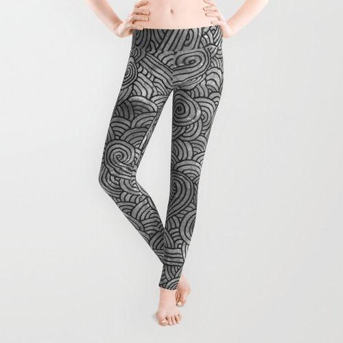 """Grey and black doodles"" Leggings by Savousepate on Society6 #scrolls #grey #gray #black #white #blackandwhite #pattern #abstract #watercolor #leggings"