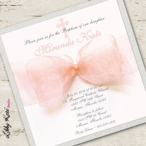 Baptism Invitation Girl Christening Invitation Peach First