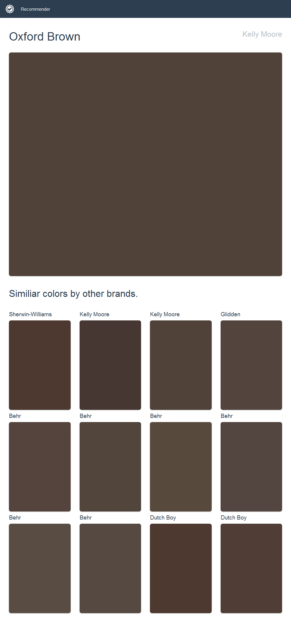 Oxford Brown Kelly Moore Click The Image To See Similiar Colors By Other Brands
