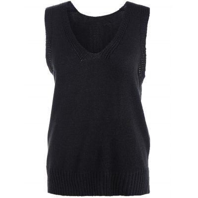 High-Low Slit Sleeveless Sweater