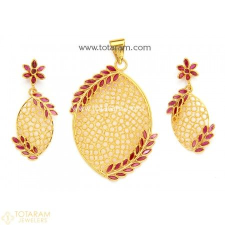 22k gold pendant earring sets pinterest gold pendant indian 22k gold pendant earring set with ruby 235 gps683 buy this latest indian gold jewelry design in 11300 grams for a low price of 74535 aloadofball Images