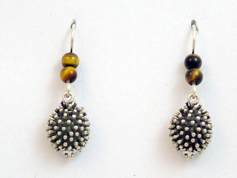 Sterling silver hedgehog dangle earrings-tiger eye-animal-hedgehogs, hedgepig