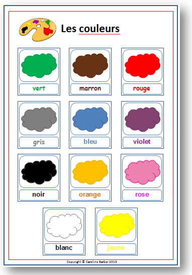 Colour Words French Vocabulary Poster School Or Homeschool