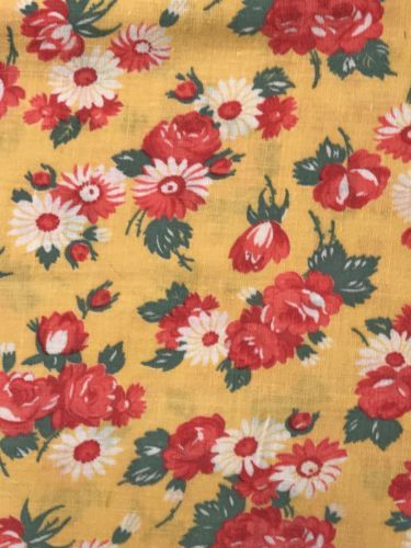 Vintage flour feed sack fabric fq yellow  red green rose daisies bouquets sacks pinterest bouquet and also