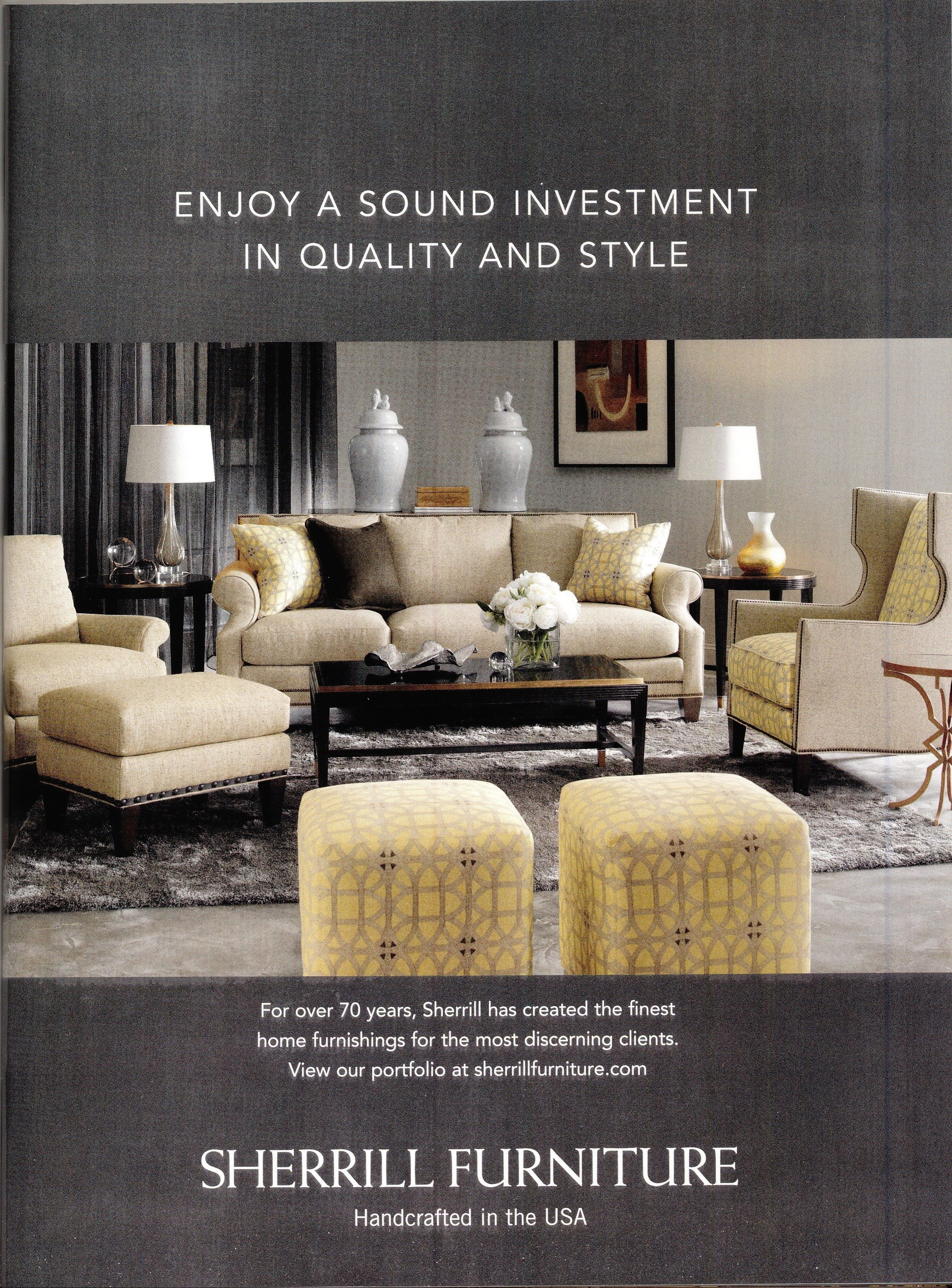 Sherrill Furniture Ad In Jan. 2015 Issue Of Features Our WILLIAMSBURG  Lamerie Lattice Fabric In Sepia By P/K Lifestyles.
