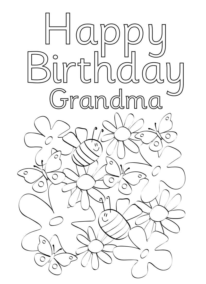 Happy Birthday Coloring Pages For Grandma Happy birthday