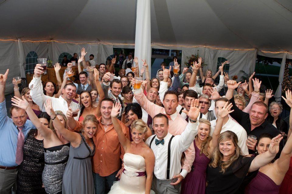 Wedding guests group shot