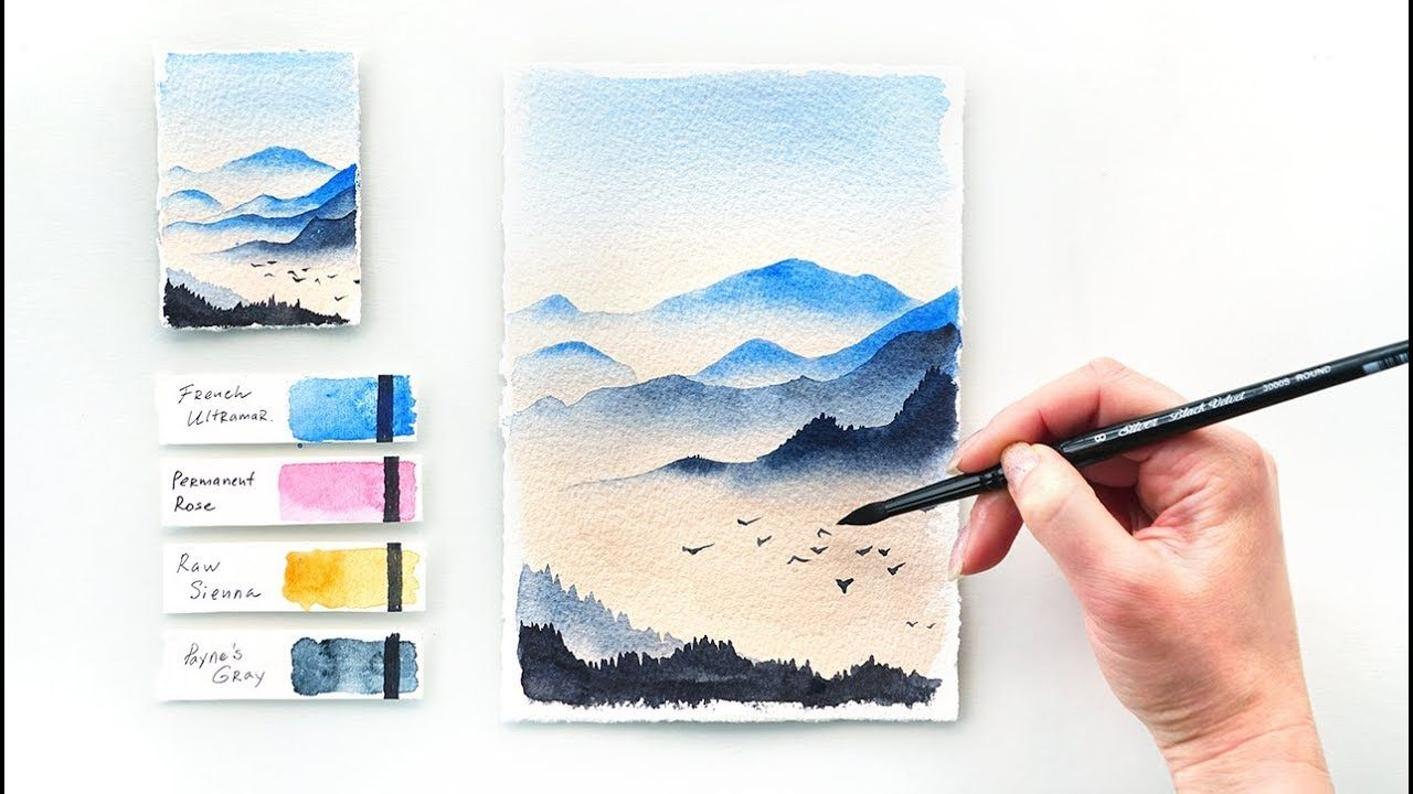 Mountains At Dawn Easy Step By Step Watercolor Tutorial