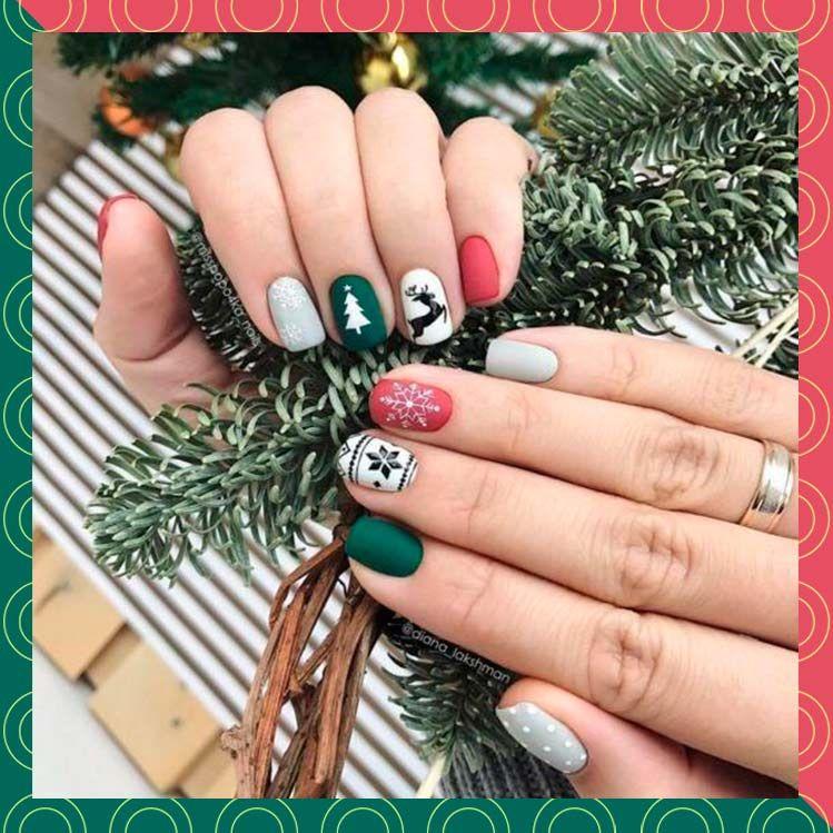 10 diseños navideños de uñas fáciles perfectos par