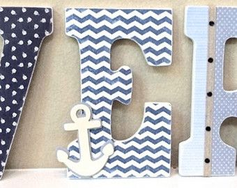 Nautical baby boy name wooden wall letters personalized baby nautical baby boy name wooden wall letters personalized baby gift custom name boy nursery decor kids wall art any color and theme negle Gallery