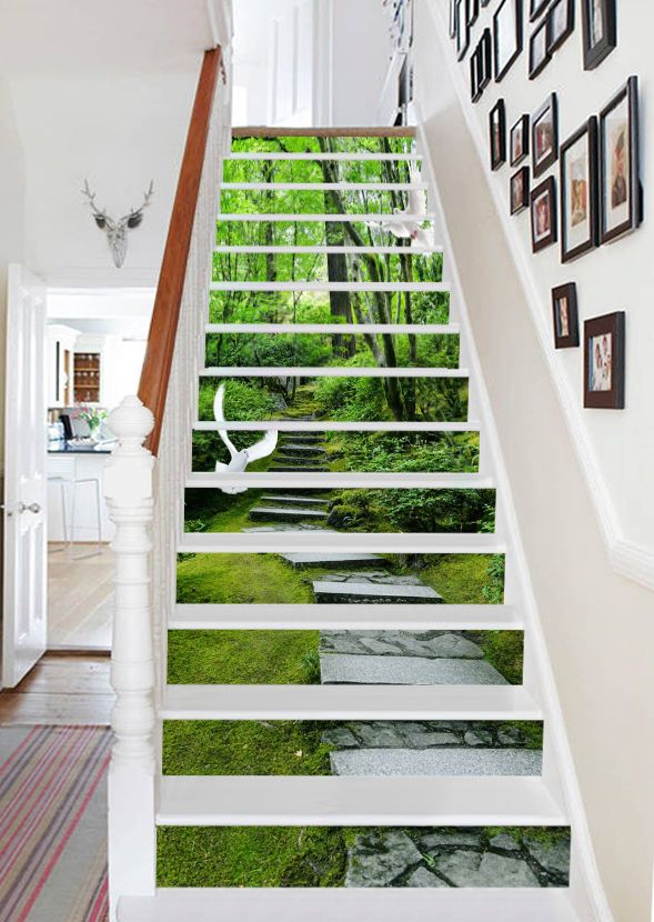 Best Details About 3D Forest Stairs 27 Stair Risers Decoration 400 x 300