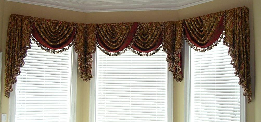 Windowtreatments formal swags jabots in a master - Swag valances for bathroom windows ...