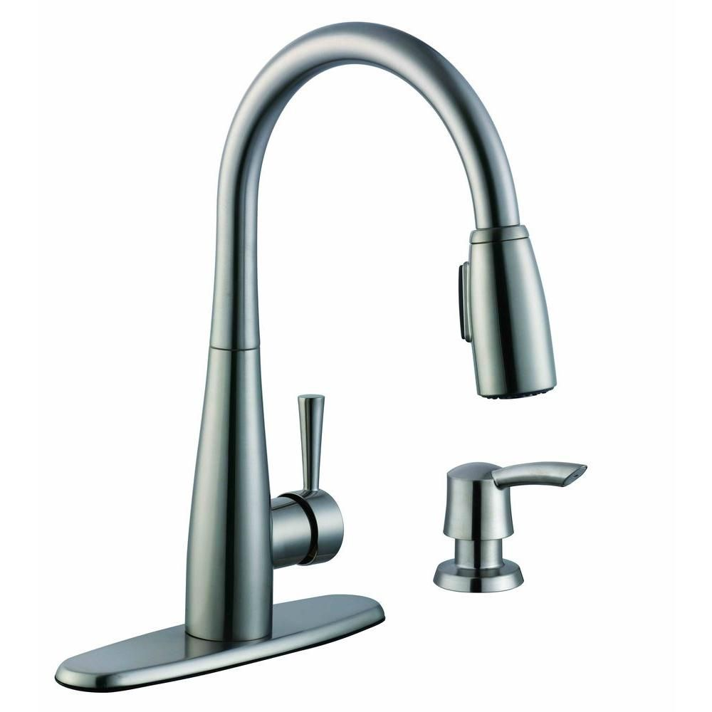Glacier Bay 900 Series Single Handle Pull Down Sprayer Kitchen Faucet With Soap Dispenser In Stainless Steel Silver Kitchen Faucet Faucet Faucet Parts