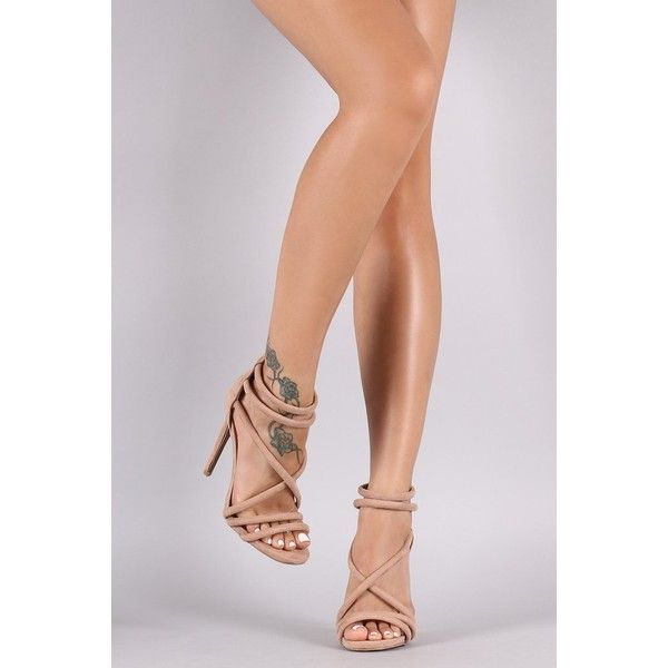 Qupid Suede Crisscross Straps Stiletto Heel ($50) via Polyvore featuring shoes, pumps, open-toe pumps, qupid pumps, open toe stilettos, stiletto heel shoes and qupid