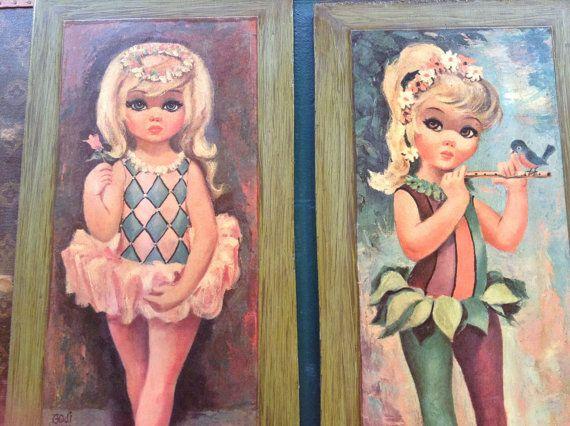 Vintage big eyed Goji art. FREE SHIPPING by Mamaphias on Etsy, $44.00