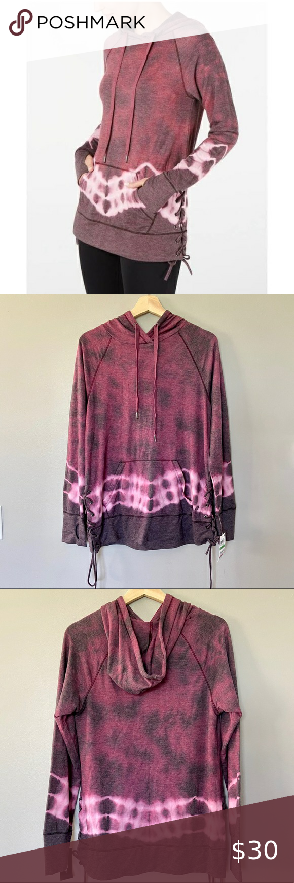 Ideology Tie Dyed Lace Up Hoodie With Thumb Holes Brand New With Tags Trendy And Comfy Features Beautiful Tie Dye Fabric Kan Tie Dye Fabric Tie Dyed Lace Up [ 1740 x 580 Pixel ]