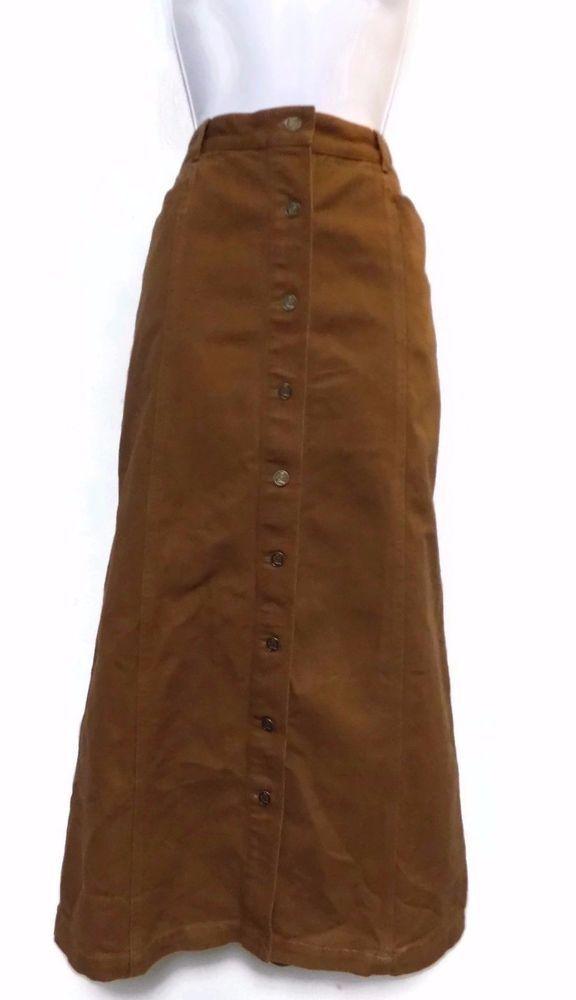 Women's Tommy Hilfiger Brown Button Down Denim Long Skirt Modest Size 12 #TommyHilfiger #StraightPencil