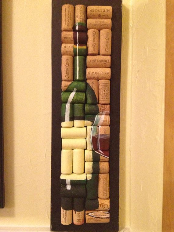 hand painted wine bottle and glass on corks crafts