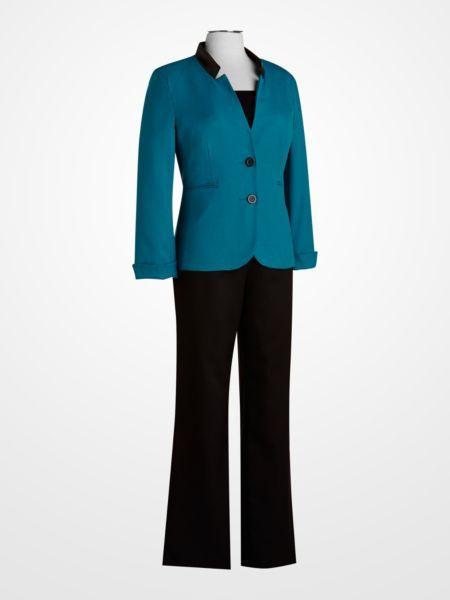 05ceabb0a Danillo Teal Pantsuit $44.99 #blue #turquoise #suit #womens #weartowork  #jacket #blazer #black #pants