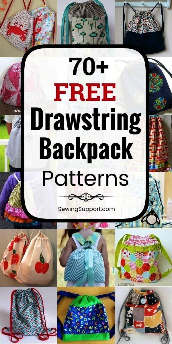 DIY Over 70 free backpack sewing patterns projects and tutorials easy enough for the beginner to sew Great simple backpack for kidsDrawstring Backpack DIY Over 70 free ba...
