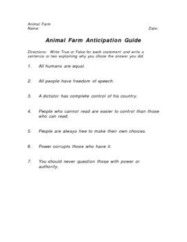 This Anticipation Guide Based On Animal Farm By George Orwell Asks Students To Agree O Anticipation Guide Complex Sentences Worksheets Health Quotes Motivation